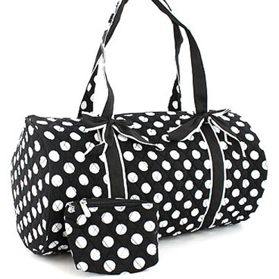 Fashlets Generic Quilted Polka Dot Duffel Bag With Bonus Makeup Bag
