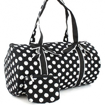 Dasein Large Quilted Polka Dot Duffel Bag with Bonus Makeup Bag-Black/White