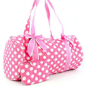 Dasein Large Quilted Polka Dot Duffel Bag with Bonus Makeup Bag-Pink/White