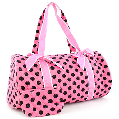 Quilted Polka Dot Duffel Bag w/ Bonus Makeup Bag