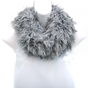 Shaggy Loop Scarf w/ Knitted Inside Surface-Grey