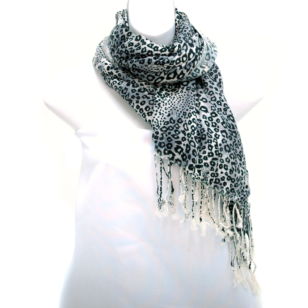 Leopard Print Fashion Scarf w/ Fringed Ends