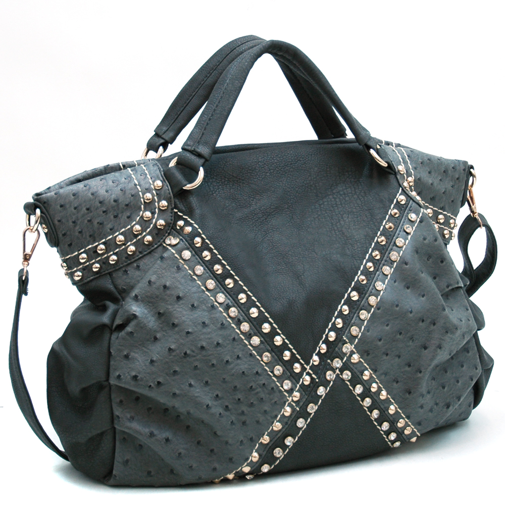 Louis Cardy® Ostrich Patchwork Tote with Studs & Rhinestones