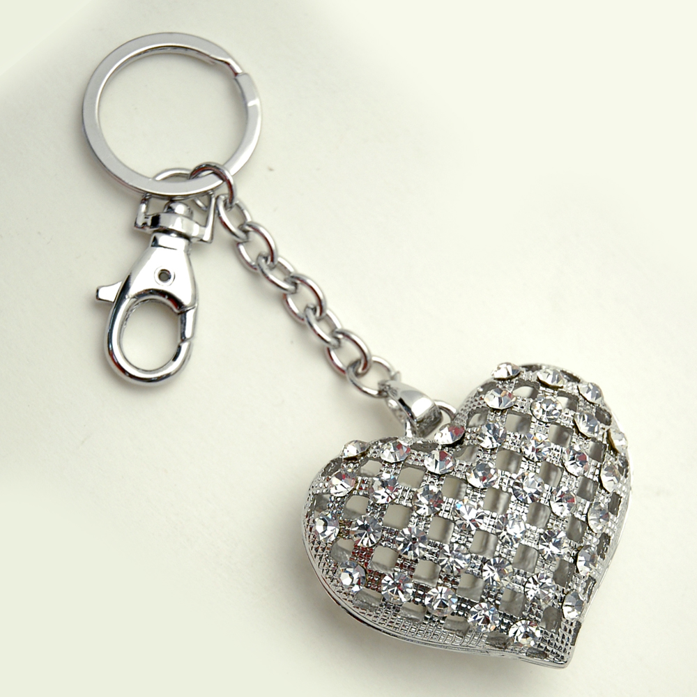 Woven Heart Key Chain with stones
