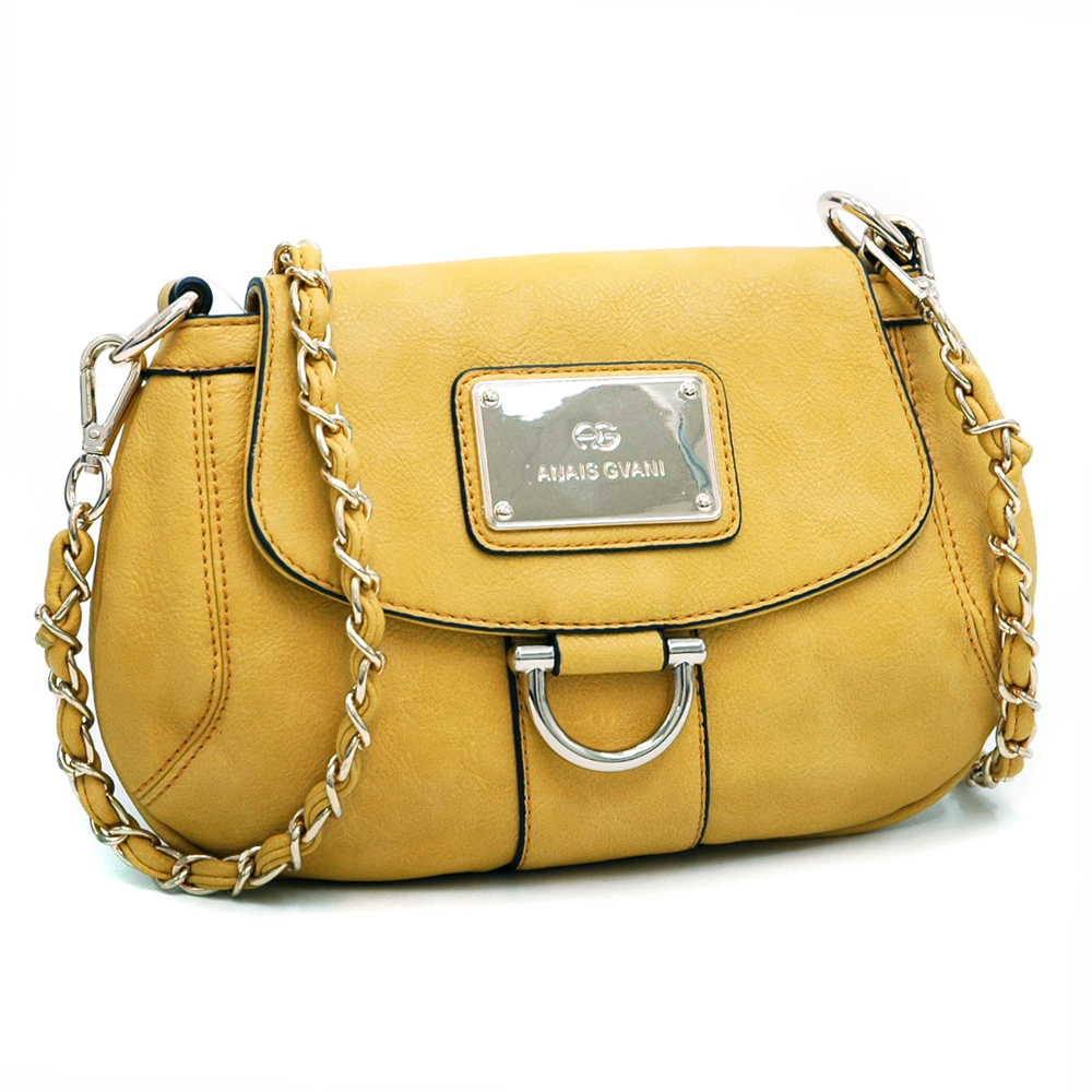 Anais Gvani Petite Chic Shoulder Bag with Gold Accents-Yellow