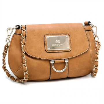 Anais Gvani ® Petite Chic Shoulder Bag with Gold Accents-Tan