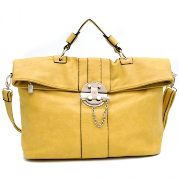 Anais Gvani ® Lock Vault-Inspired Briefcase Style Messenger Bag-Yellow