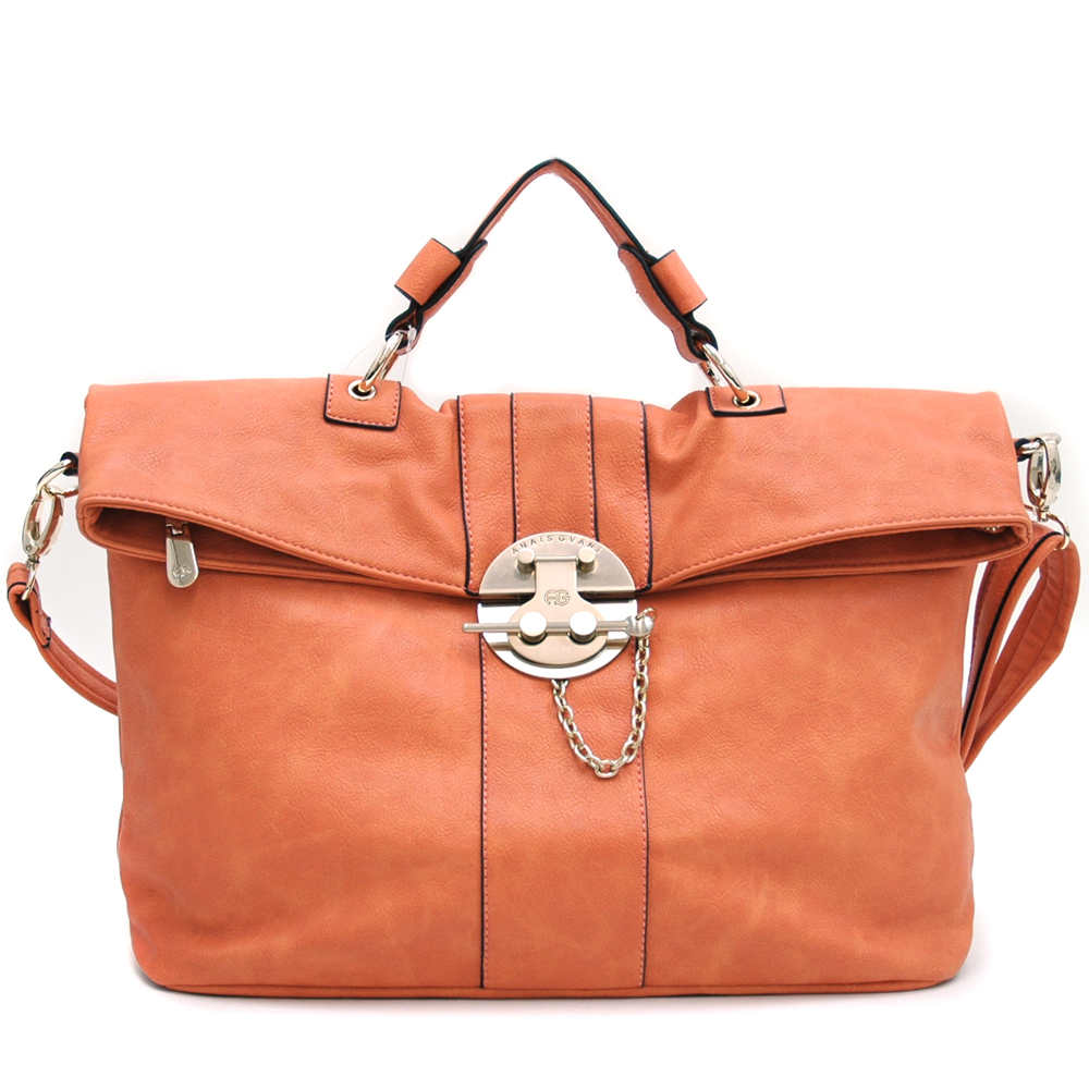Anais Gvani Lock Vault-Inspired Briefcase Style Messenger Bag-Orange