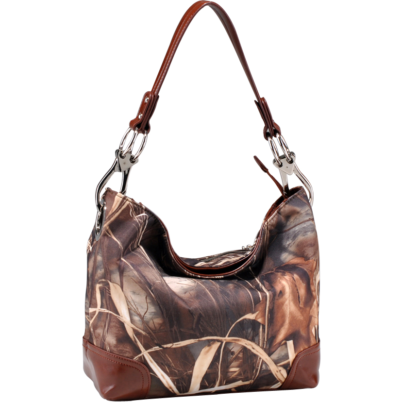 Camouflage tote bag w/ leather-like trim
