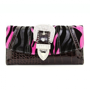 Multi-Animal Patched Checkbook Wallet w/ Rhinestone Buckle Accent