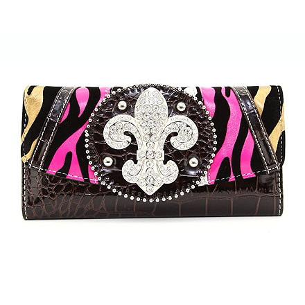 Multi-Animal Patched Checkbook Wallet with Fleur de Lis Accent - Pink/Yellow