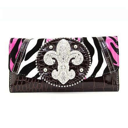 Multi-Animal Patched Checkbook Wallet w/ Fleur de Lis Accent