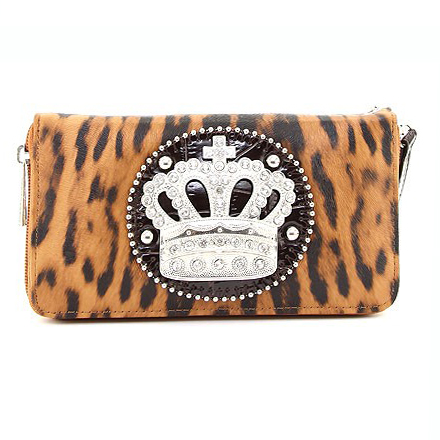 Leopard Print Wristlet Wallet w/ Royal Crown Decor