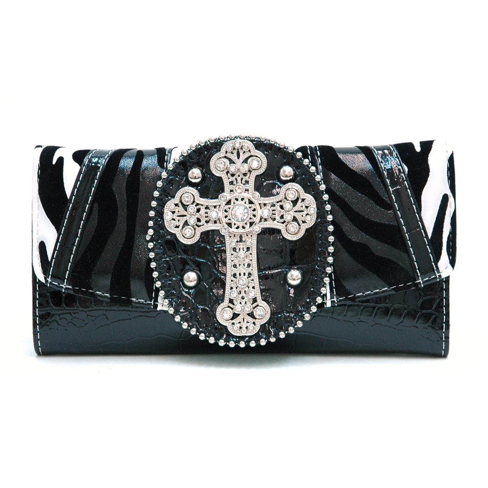 Multi-Animal Patched Checkbook Wallet w/ Rhinestone Cross Accent