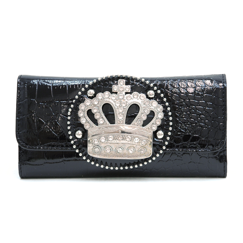 Rhinestone Crown Adorned Croco Checkbook Wallet