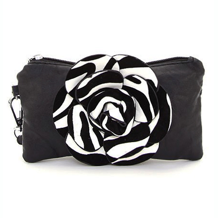 Fashion mini clutch/ wristlet with zebra striped flower accent