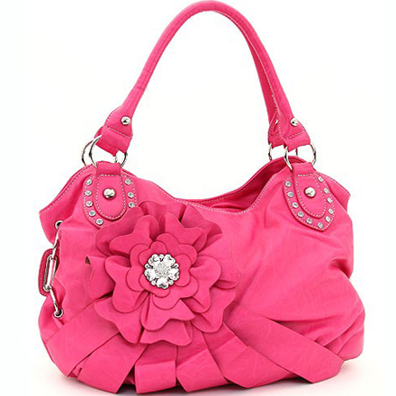 Studded Fashion Shoulder Bag w/ Rhinestone Centered Flower Accent