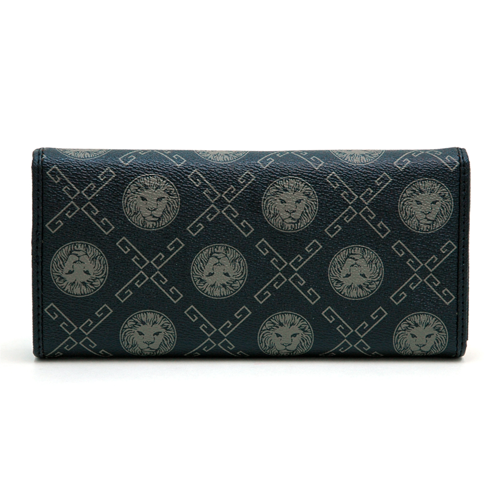 Gold Lion Adorned Trifold Fashion Wallet - Black