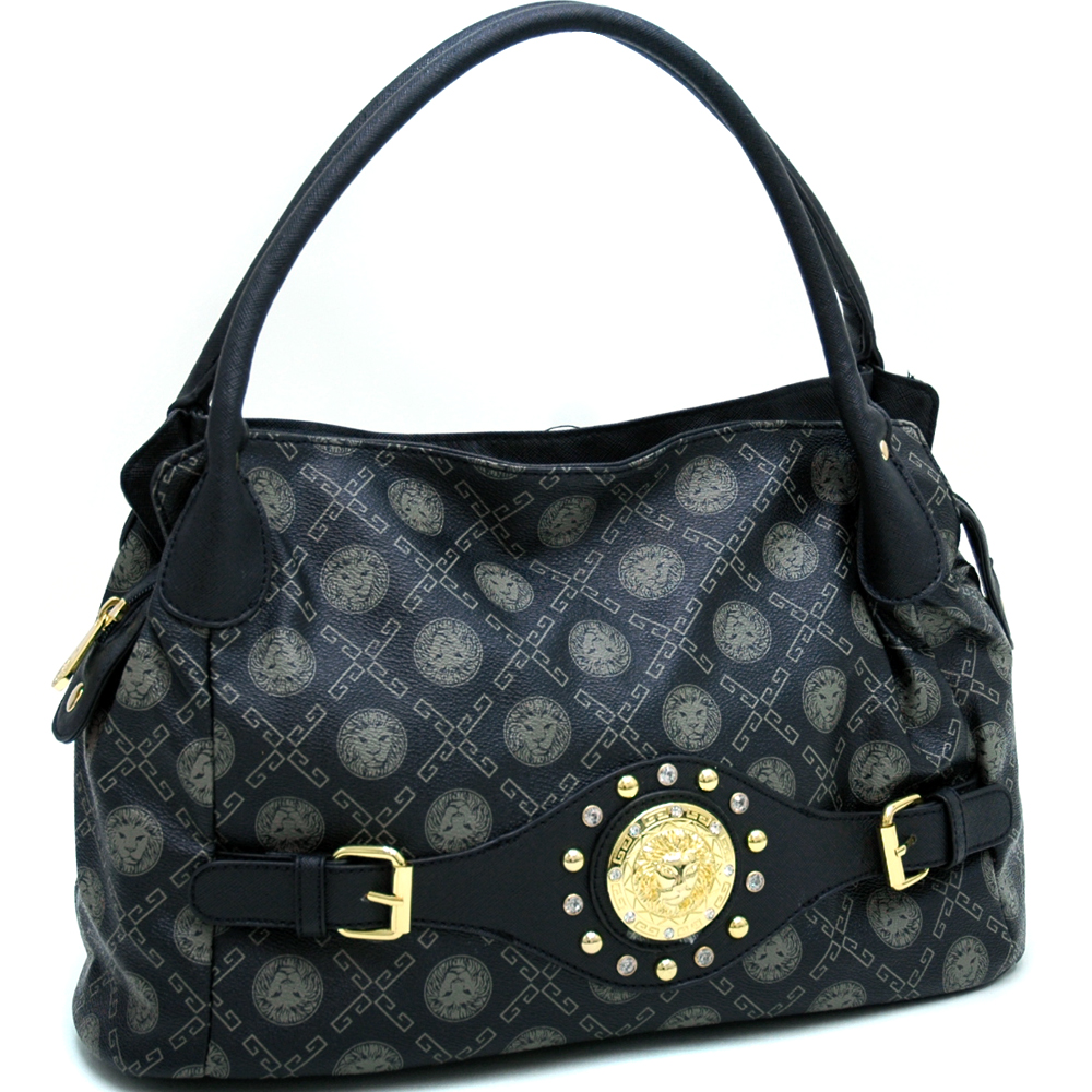 Gold Studded Satchel Bag with Front Belted Panel & Gold Lion Emblem - Black