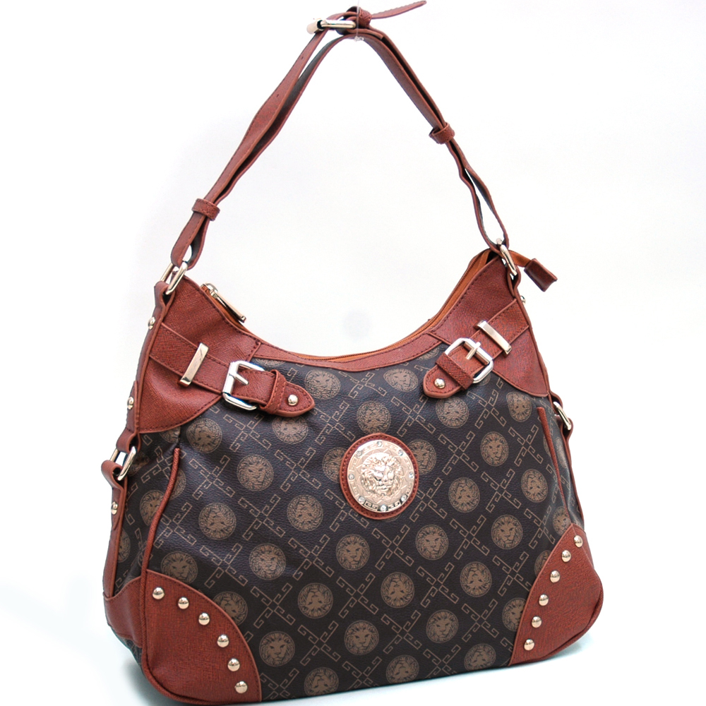 Gold Studded Classic Shoulder Bag w/ Lion Emblem & Belted Accents