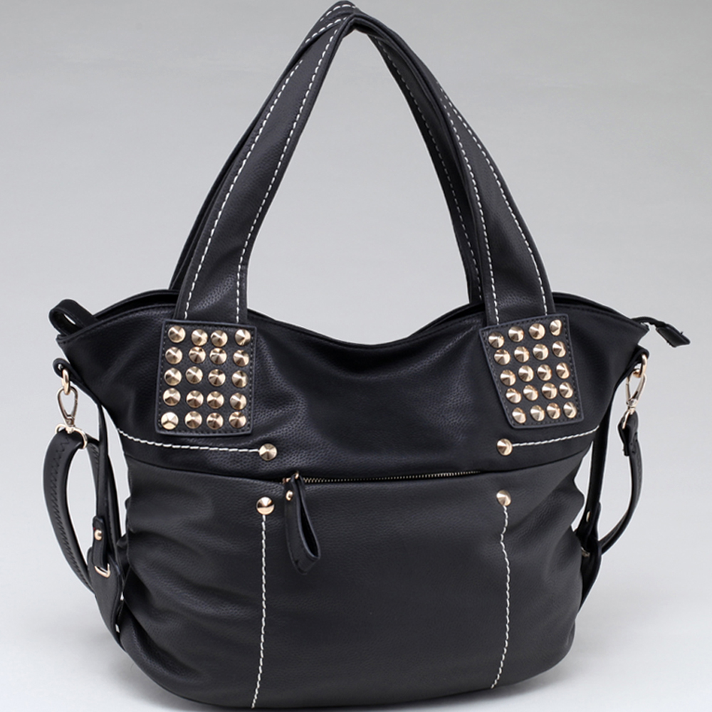 Two Toned Fashion Tote w/ Pointy Gold Stud Accents