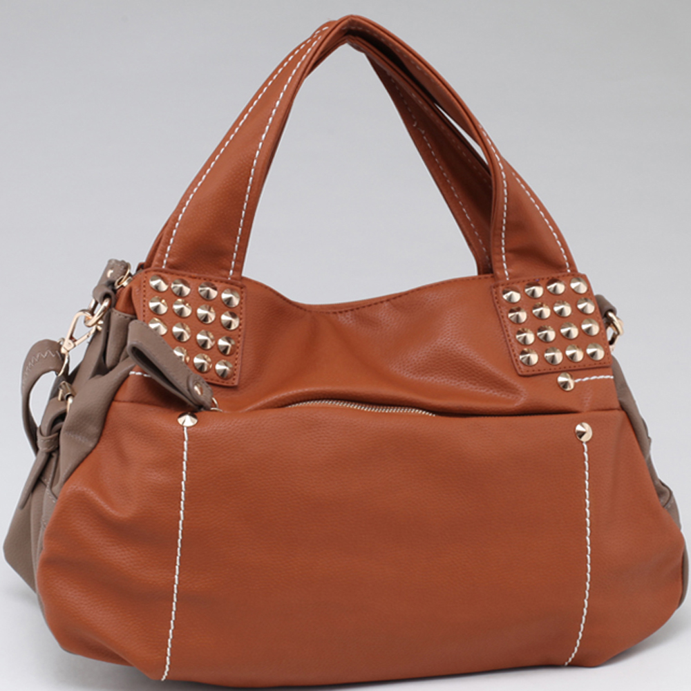 Two Toned Fashion Carrying Tote w/ Pointy Gold Stud Accents