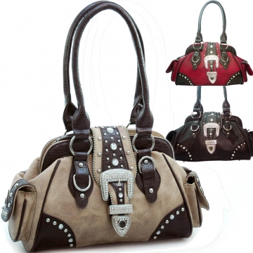 Studded western style satchel bag w/ rhinestone buckle accent