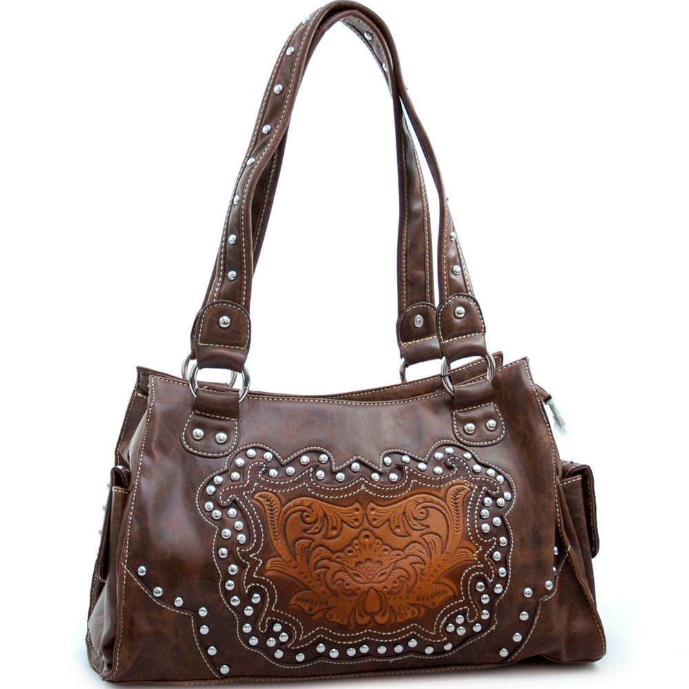 Studded western shoulder bag with floral embossed pattern