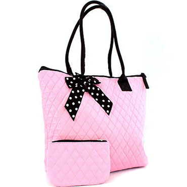 Two-toned Quilted Tote With Bonus Makeup Bag