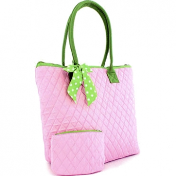 Two-toned Quilted Tote w/ Bonus Makeup Bag