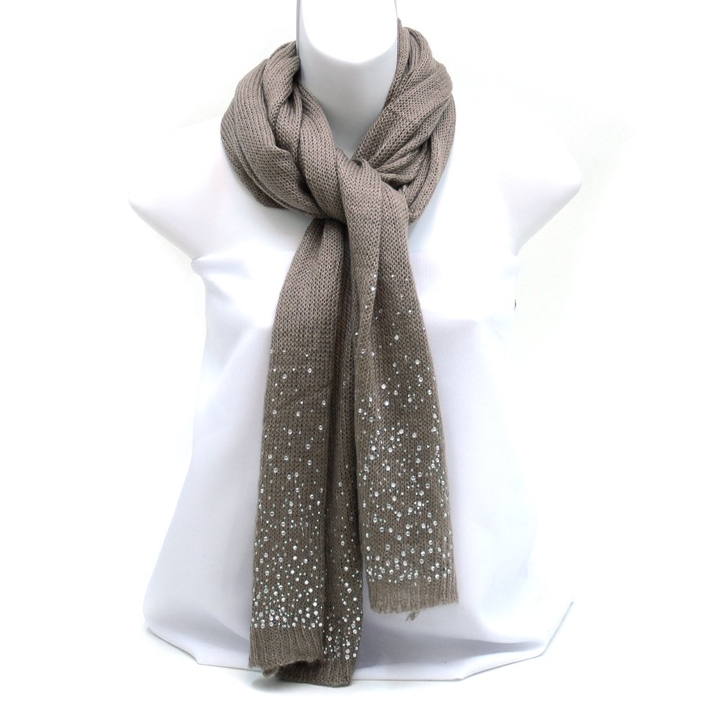 Fashion Knit Scarf with Raindrop Rhinestone Glaze