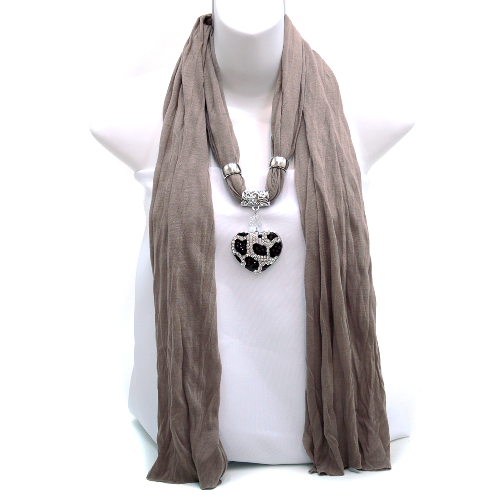 Necklace Style Fashion Scarf w/ Leopard Rhinestone Heart Charm