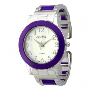 Women's Color Accented Cuff Watch w/ Rhinestone Bezel