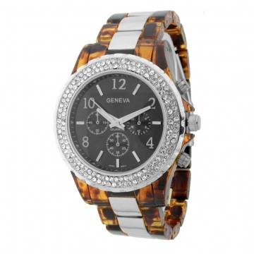 Classic Women's Watch w/ Rhinestone Accents