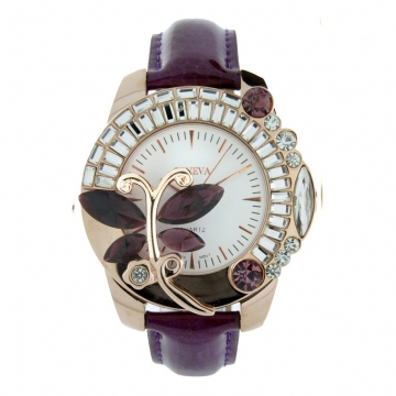 Butterfly Adorned Watch with Rhinestones & Snake Skin Strap-Purple/Gold