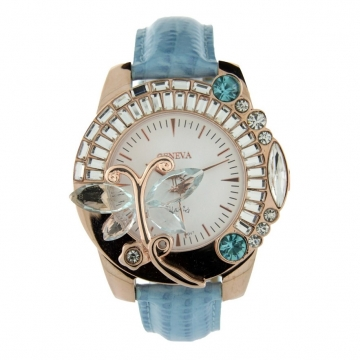 Butterfly Adorned Watch with Rhinestones & Snake Skin Strap-Aqua/Gold