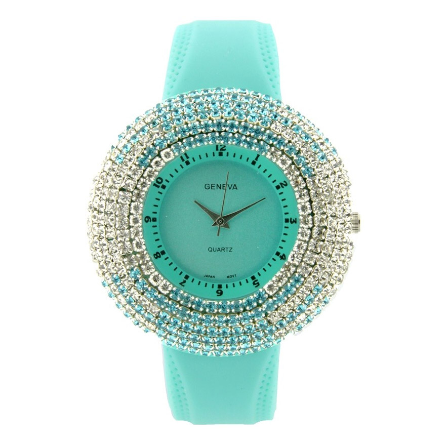 Rhinestone Face Watch w/ Two-Tone Design