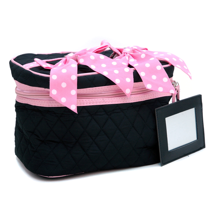 Quilted Bow Tie Accent Makeup Bag