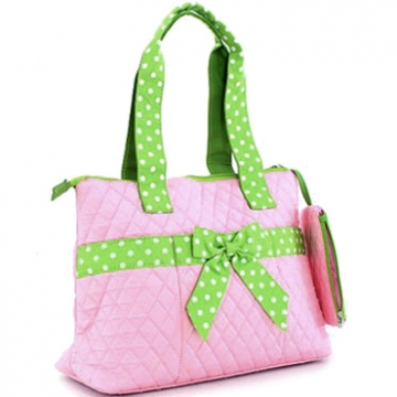 Quilted Medium Diaper Bag w/ Bow & Polka Dot Trim
