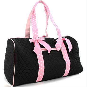 Large Quilted Weekender Duffle Bag w/ Polka Dot Accent