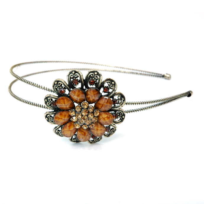 Dasein Gold Dual Floral Head Band with Floral Stone Adornment-Brown