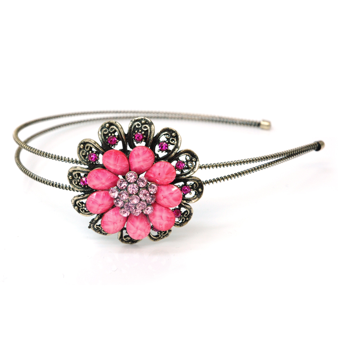 Dasein Gold Dual Floral Head Band with Floral Stone Adornment-Pink