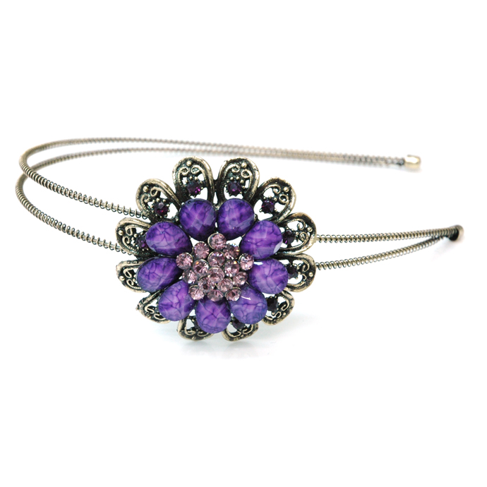 Dasein Gold Dual Floral Head Band with Floral Stone Adornment-Purple
