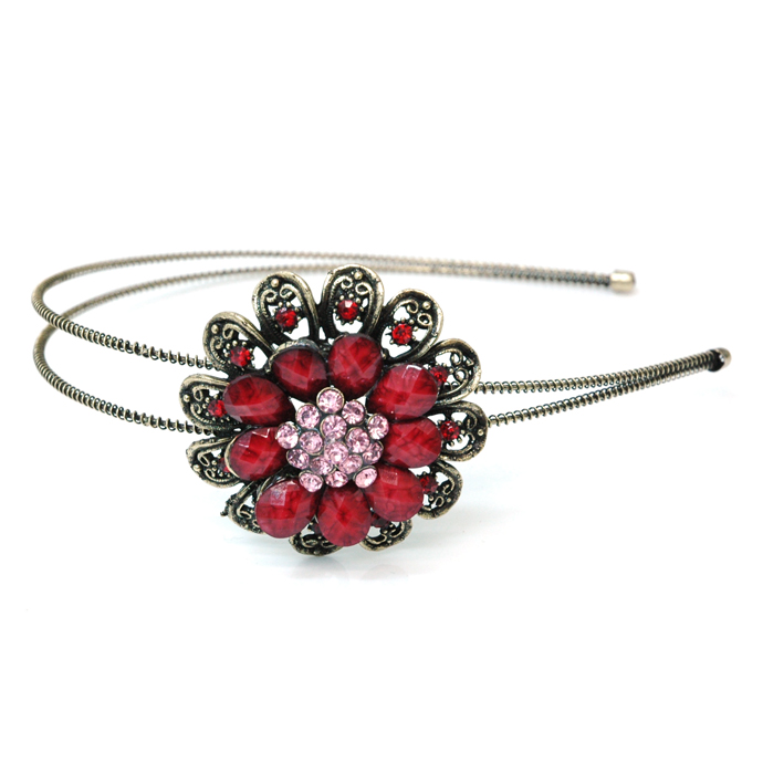 Dasein Gold Dual Floral Head Band with Floral Stone Adornment-Red