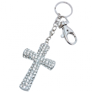 Rhinestone Cross Key Chain