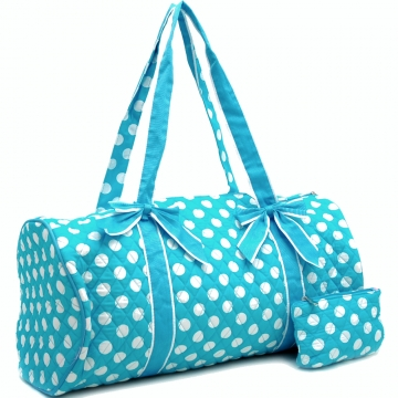 Dasein Large Quilted Polka Dot Duffel Bag with Bonus Makeup Bag-Blue/White