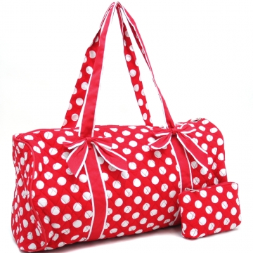 Dasein Large Quilted Polka Dot Duffel Bag with Bonus Makeup Bag-Red/White