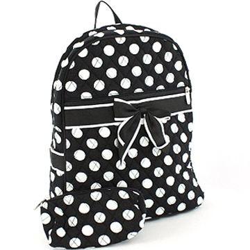 Dasein Quilted Polka Dot Backpack with Convertible Shoulder Straps-Black/White