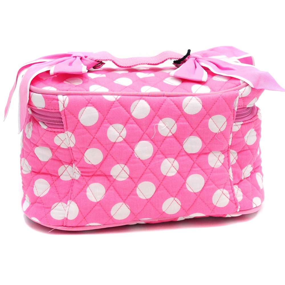 Fashlets Generic Quilted White Polka Dot Cosmetic Bag