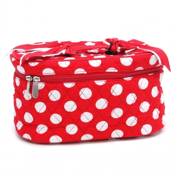 Dasein Quilted Polka Dot Cosmetic Case-Red/White